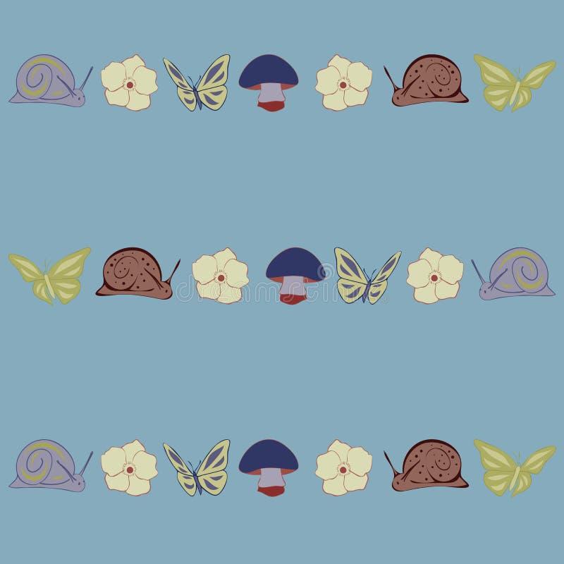 Fundo sem emenda floral do vetor do teste padrão da repetição dos cogumelos e dos caracóis ilustração do vetor