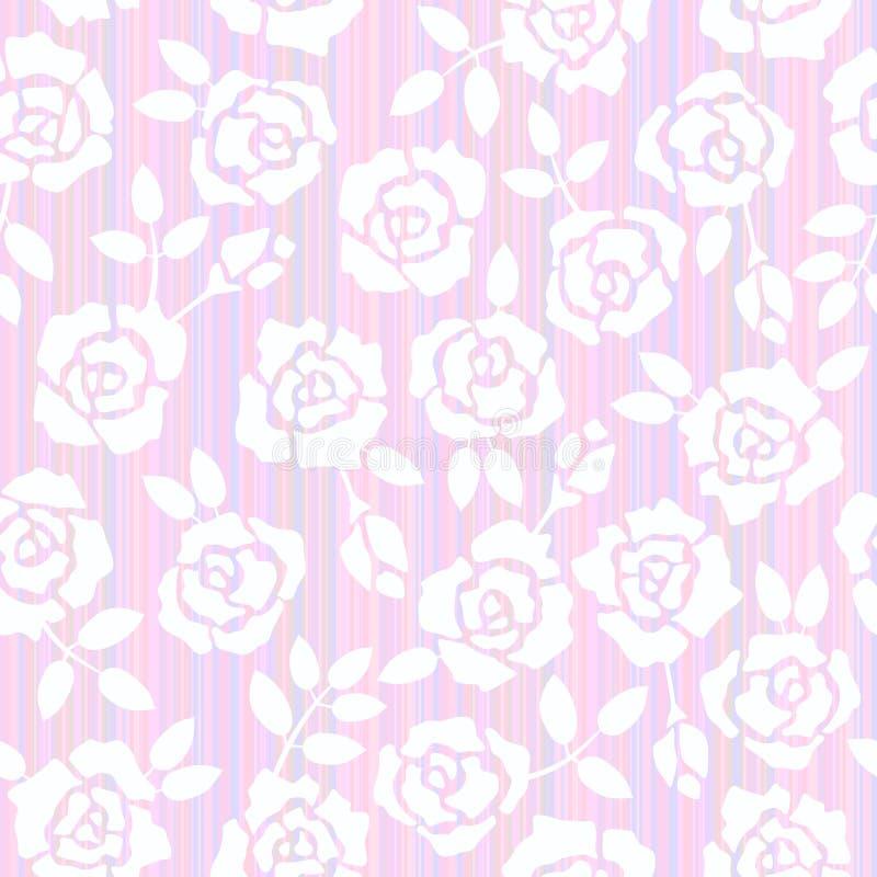 Fundo sem emenda floral retro com rosas Bitmap da ilustração imagem de stock