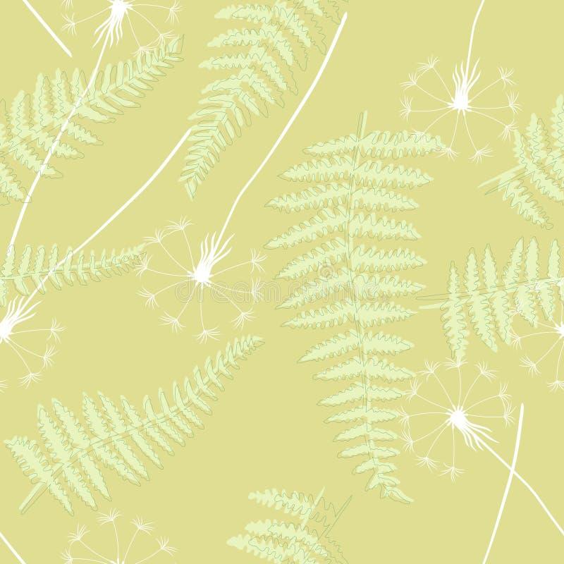 Fundo sem emenda floral retro, papel de parede com dentes-de-leão e samambaias ilustração royalty free