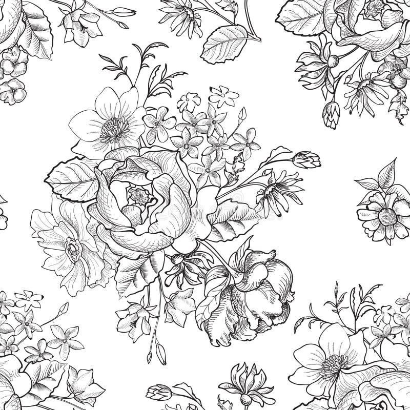 Fundo sem emenda floral Teste padrão de flor ilustração do vetor