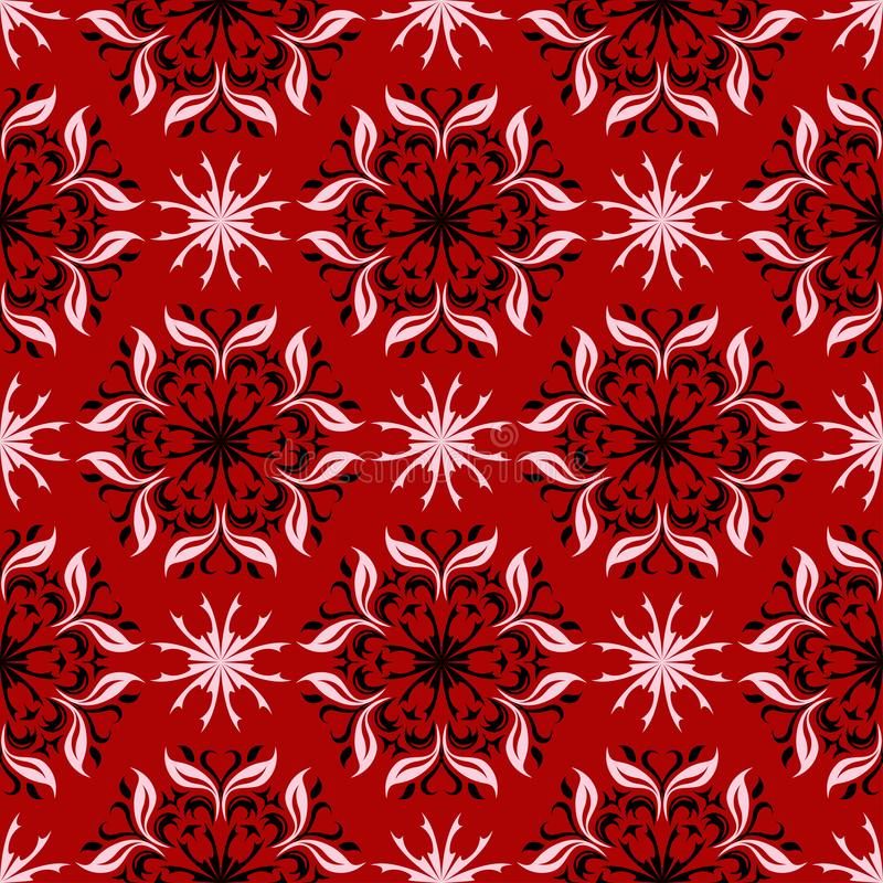 Fundo sem emenda floral Teste padrão de flor preto e branco no vermelho ilustração royalty free