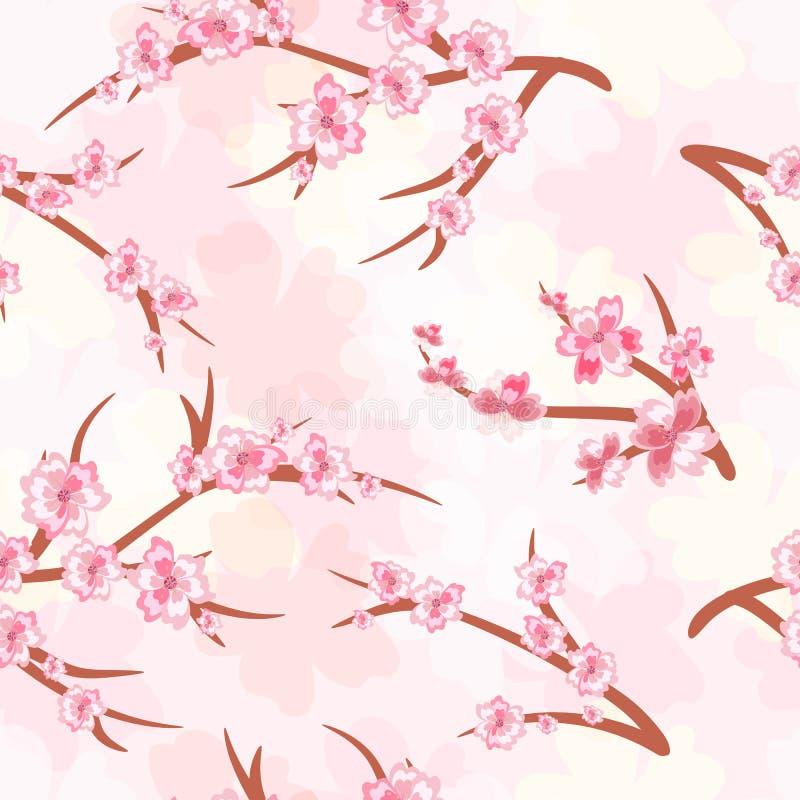 Fundo sem emenda - flores de cerejeira Ramos de blos de uma cereja ilustração royalty free