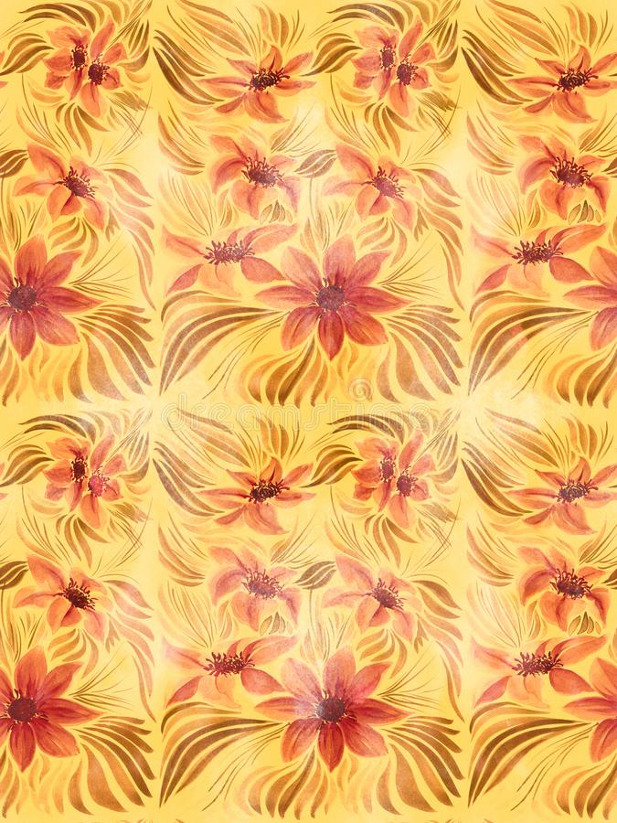 Fundo sem emenda Fower, teste padrão do fundo - motivos florais wallpaper Use materiais impressos, cartões do decoupage, cartazes ilustração stock