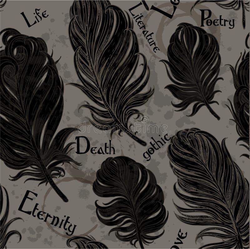 Fundo sem emenda gótico das penas pretas ilustração royalty free