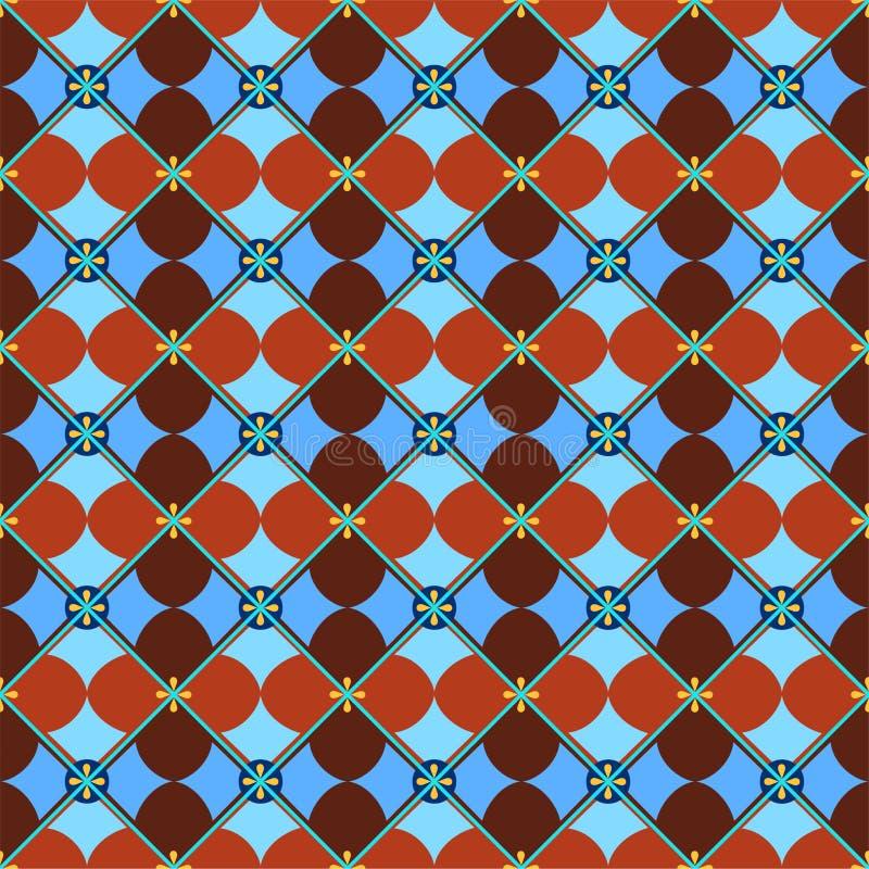 Fundo sem emenda, geométrico, pétalas, marrom-azuis ilustração do vetor