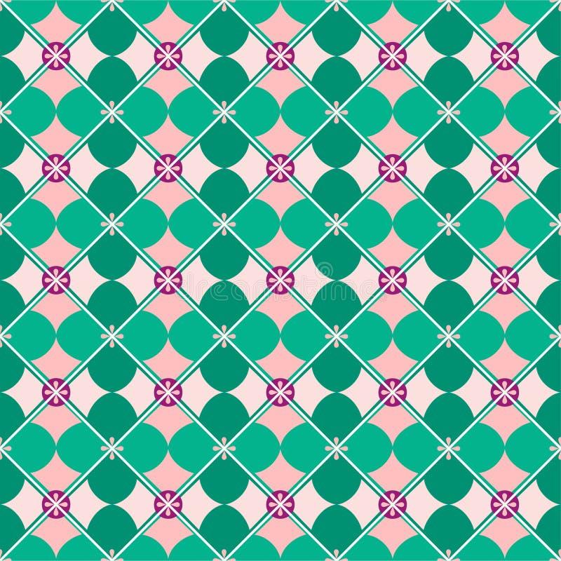 Fundo sem emenda, geométrico, pétalas, verde da hortelã ilustração do vetor