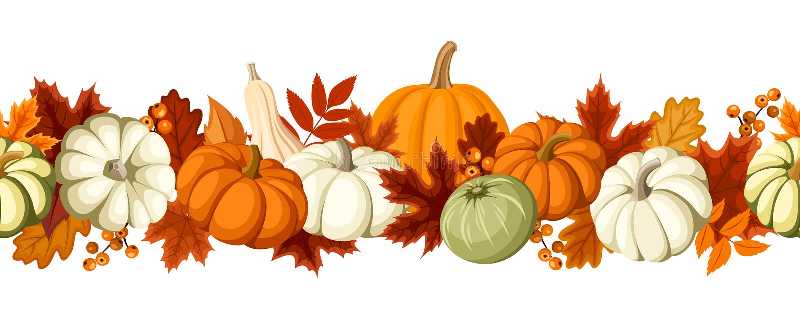 Fundo sem emenda horizontal com abóboras e folhas de outono Ilustração do vetor ilustração stock