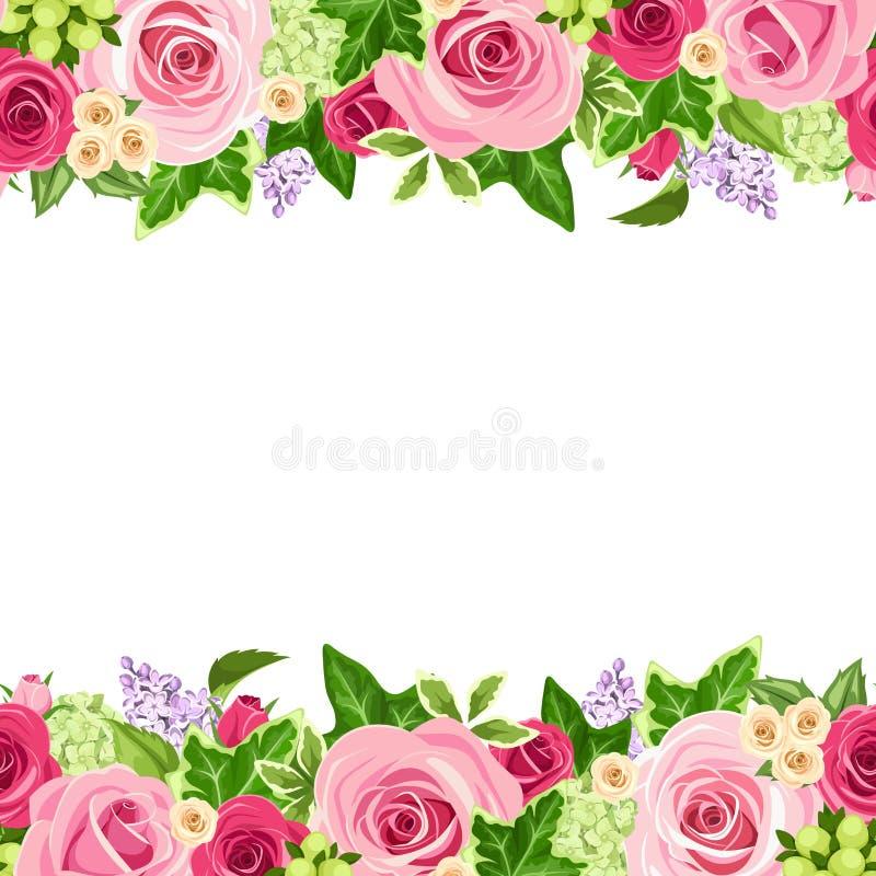 Fundo sem emenda horizontal com as rosas vermelhas e cor-de-rosa Ilustração do vetor ilustração stock