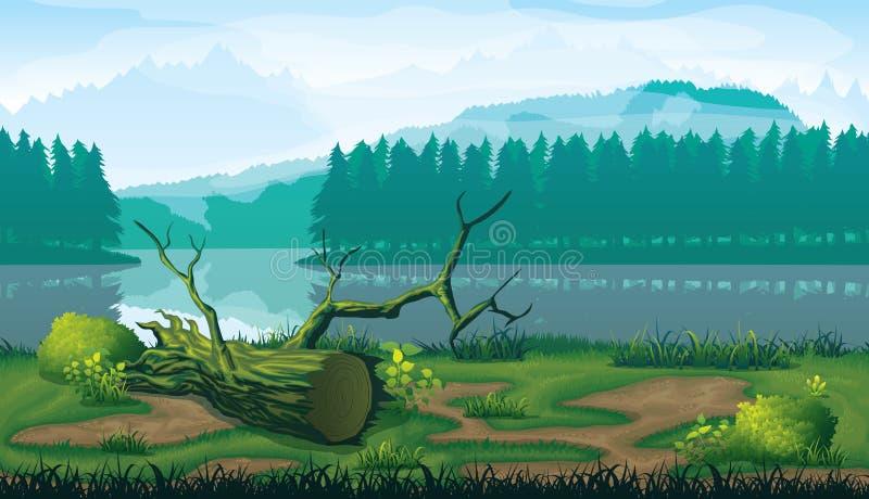 Fundo sem emenda horizontal da paisagem com rio, floresta e montanhas ilustração do vetor