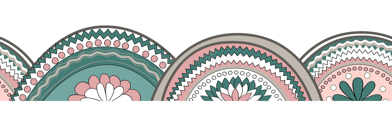 Fundo sem emenda horizontal do teste padrão da textura do círculo da garatuja ilustração royalty free