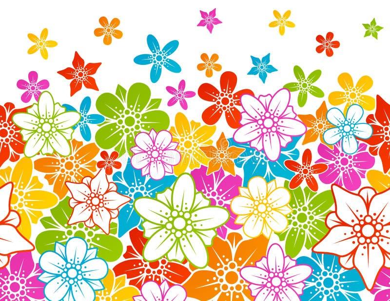 Fundo sem emenda horizontal floral ilustração do vetor