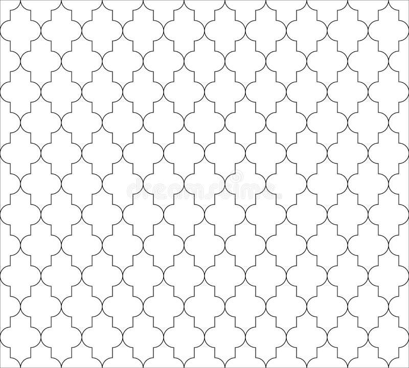 Fundo sem emenda islâmico marroquino do teste padrão em preto e branco Vintage e projeto decorativo abstrato retro simples ilustração do vetor
