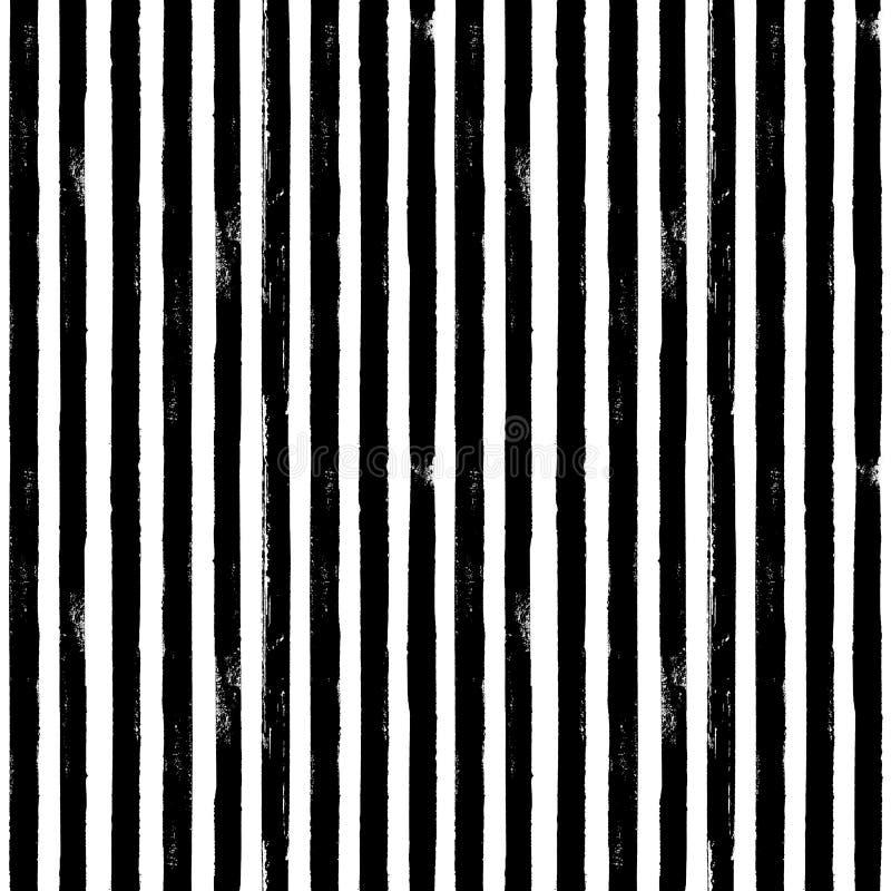 Fundo sem emenda listrado da textura do teste padrão da tinta preto e branco ilustração stock