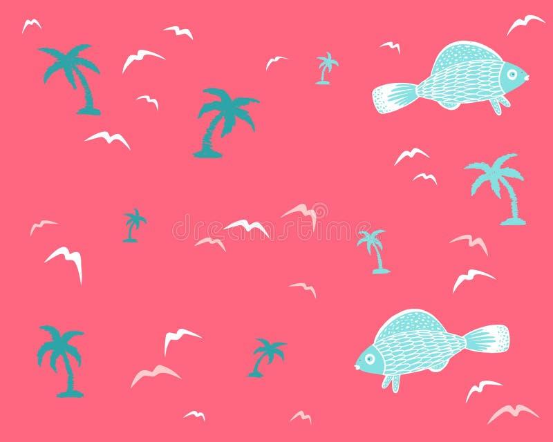 Fundo sem emenda marinho com peixes e palmeiras ilustração royalty free