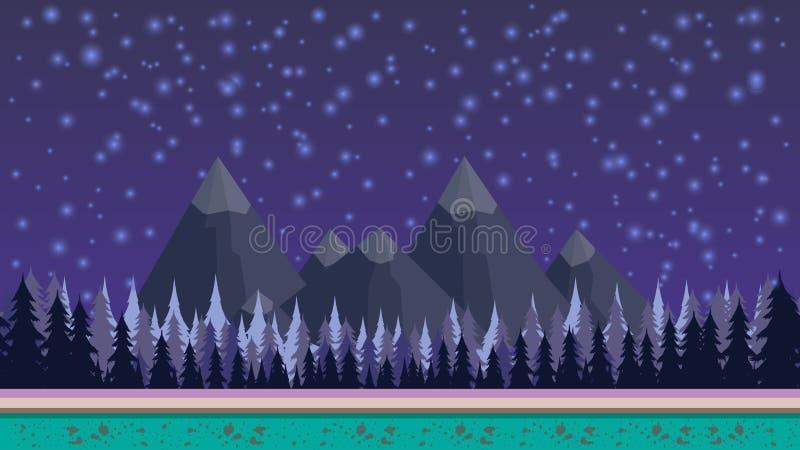 Fundo sem emenda misterioso da fantasia para o jogo móvel, mergulhado Com montanhas e frentes no fundo e nas estrelas ilustração royalty free