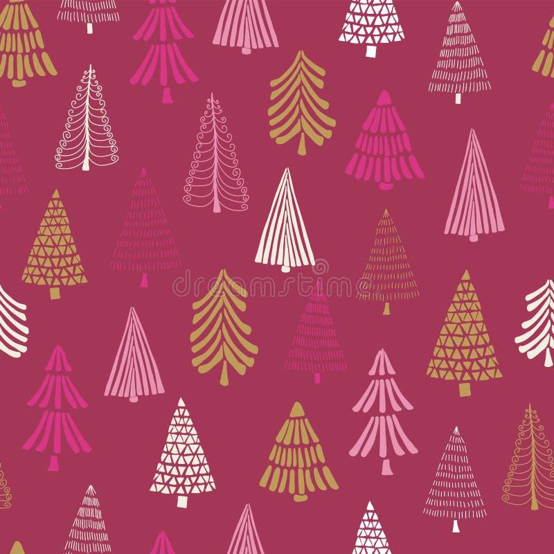Fundo sem emenda moderno do vetor das árvores de Natal da garatuja Teste padrão branco do feriado do ouro do rosa para meninas, m ilustração do vetor
