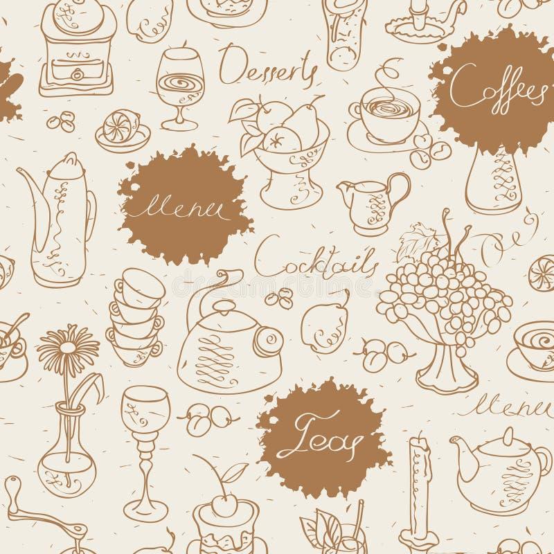 Fundo sem emenda no chá e no café ilustração stock