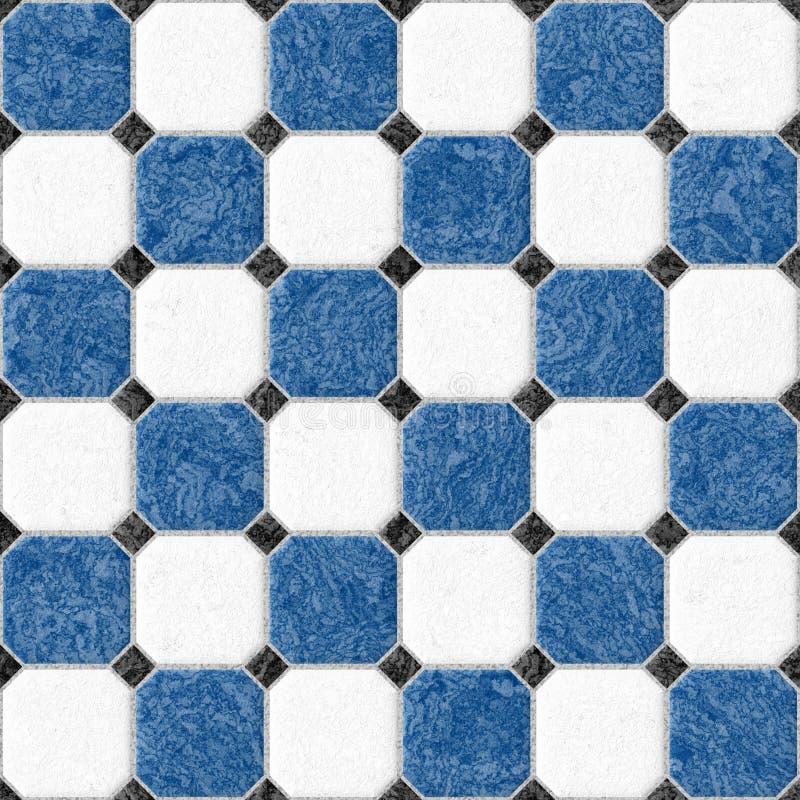 Fundo sem emenda quadrado de mármore azul e branco da textura do teste padrão das telhas de assoalho ilustração stock
