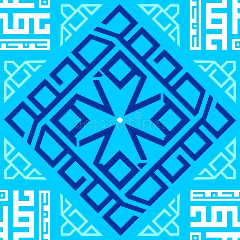 Fundo sem emenda repetitivo geométrico azul e branco da textura da telha do teste padrão do ornamento fotos de stock royalty free
