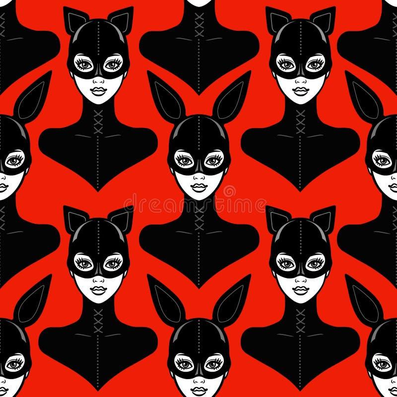 Fundo sem emenda - retrato da animação das meninas bbeautiful em um terno do látex e um gato e um coelho da máscara ilustração do vetor