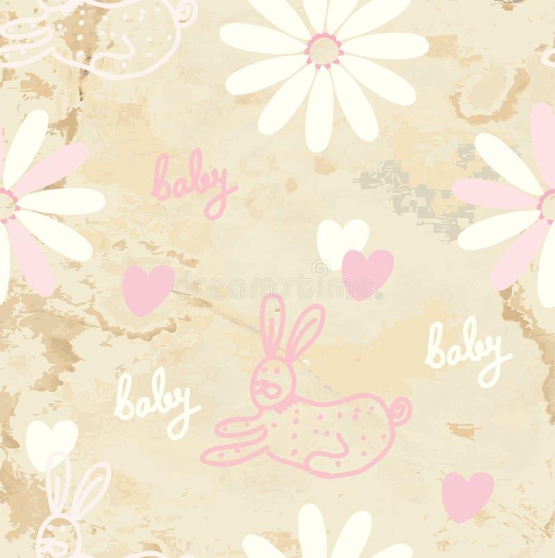 Fundo sem emenda retro do bebê com papel ilustração royalty free