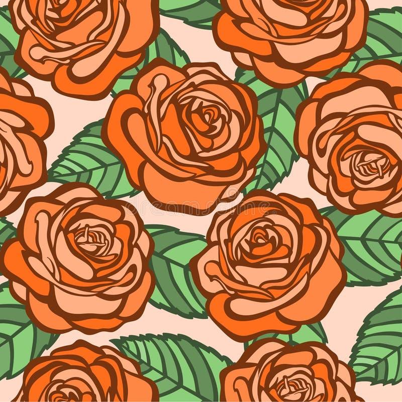 Fundo sem emenda. rosas alaranjadas com as folhas verdes no estilo antigo ilustração stock