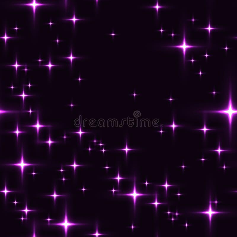 Fundo sem emenda roxo com estrelas de brilho ilustração do vetor