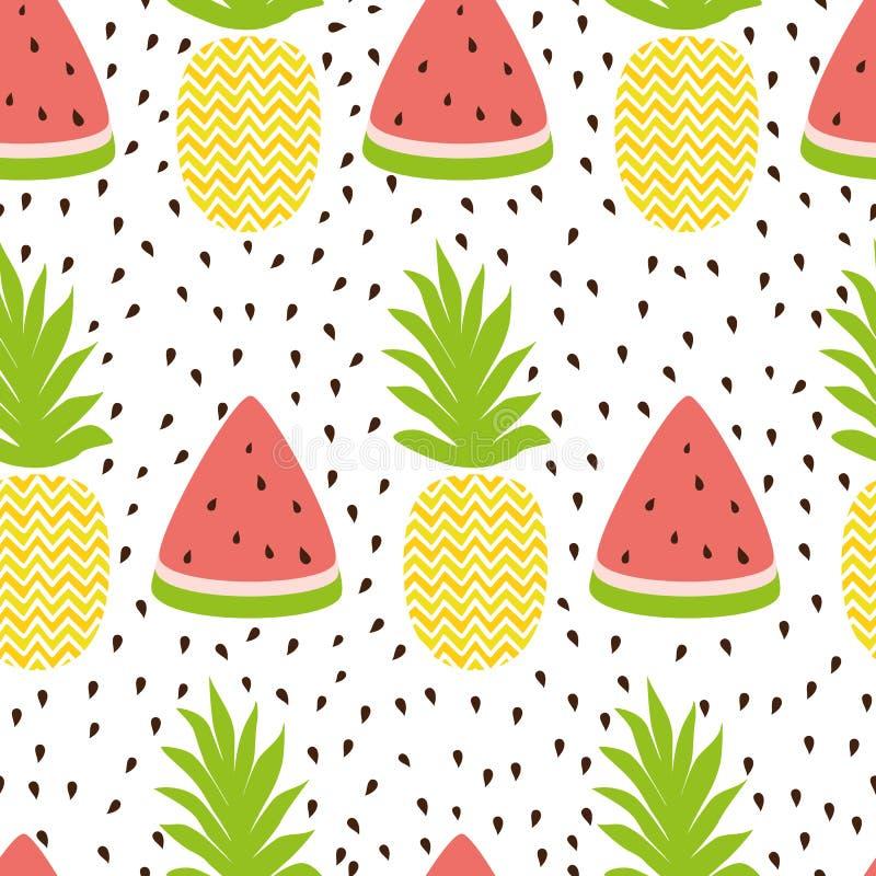 Fundo sem emenda simples da melancia do abacaxi em cores do verão do fruto fresco ilustração stock