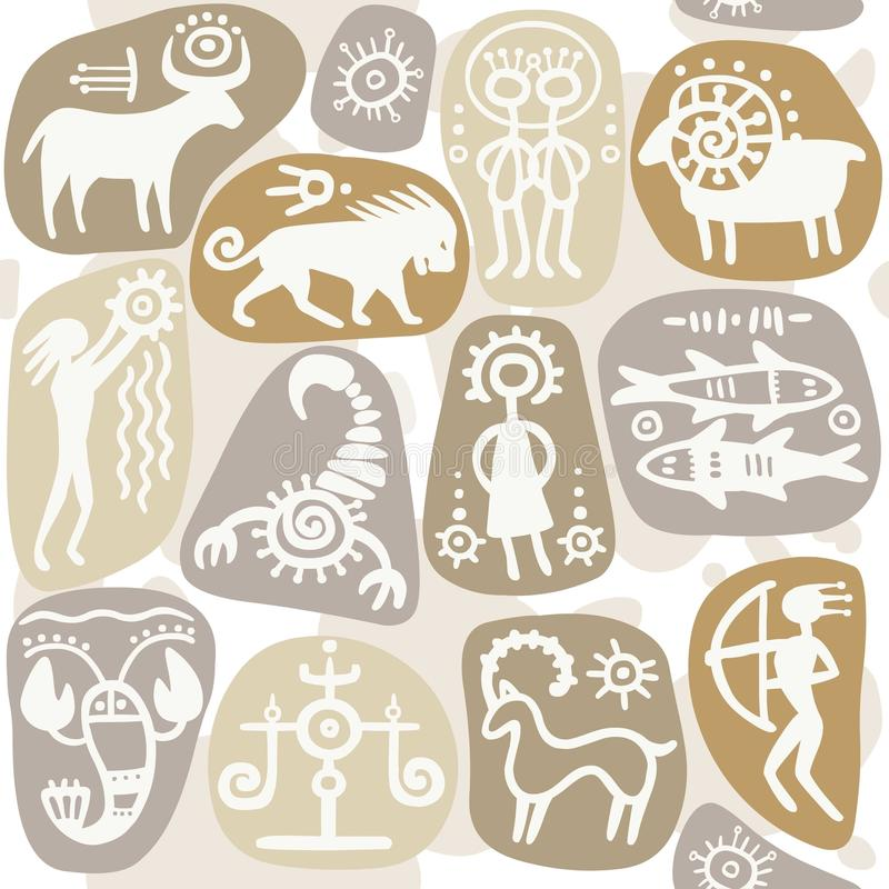 Fundo sem emenda: sinais do zodíaco ilustração royalty free