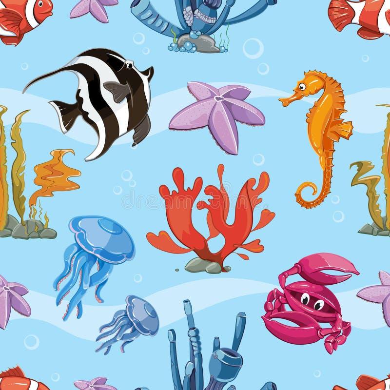 Fundo sem emenda subaquático do vetor com mar ilustração stock