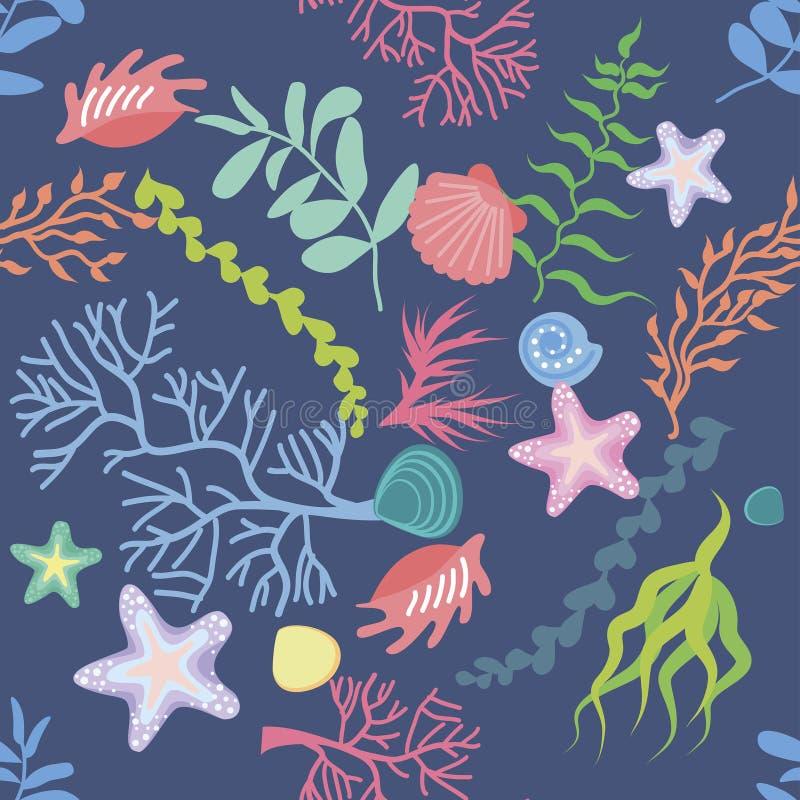 Fundo sem emenda, textura, teste padrão da alga, coral e conchas do mar ilustração stock