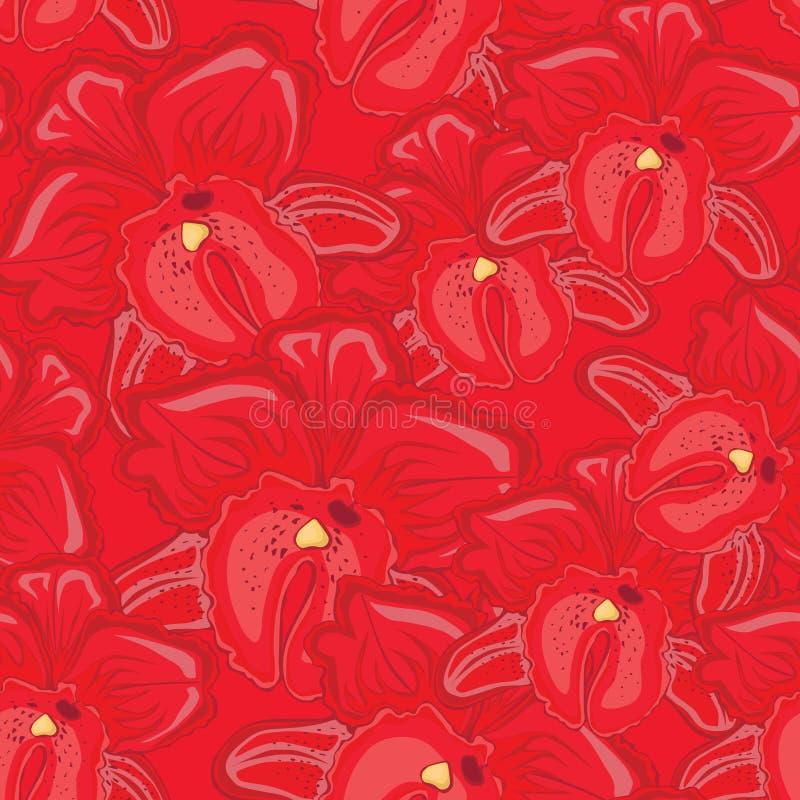 Fundo sem emenda vermelho com orquídeas vermelhas ilustração do vetor