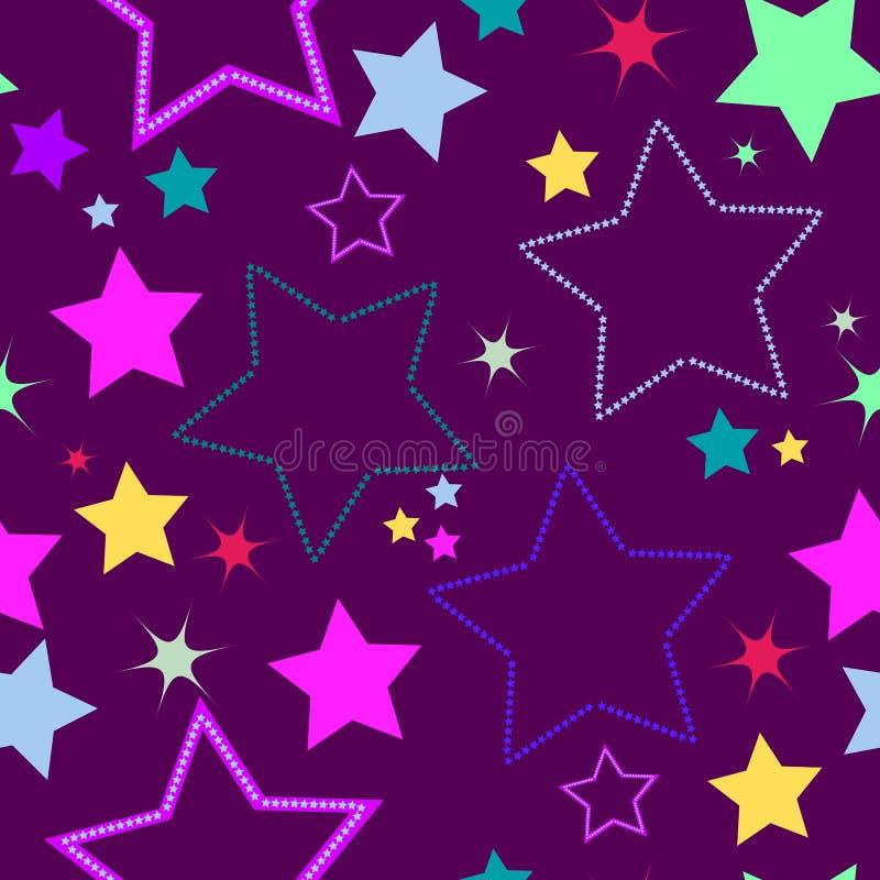 Fundo sem emenda violeta com estrelas ilustração do vetor
