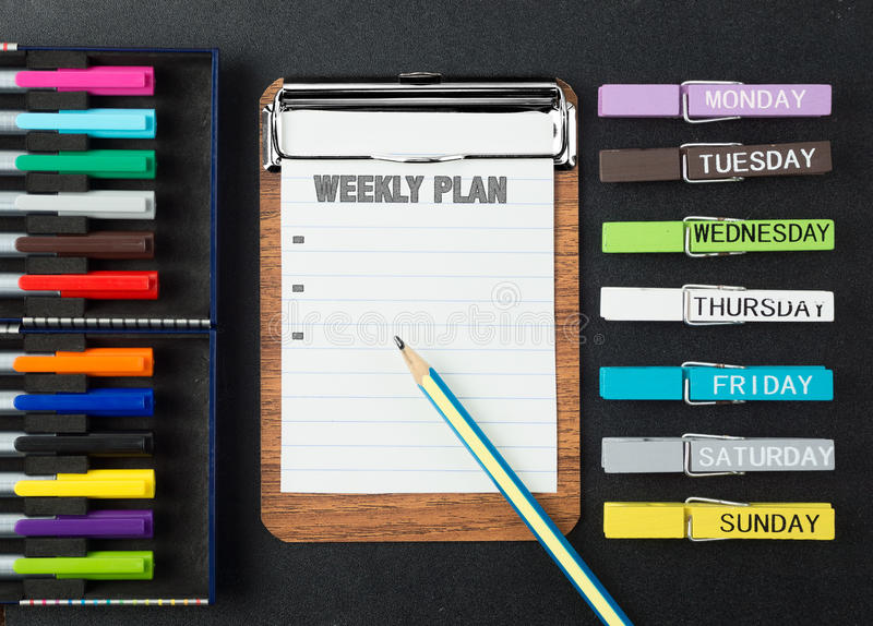 Fundo semanal colorido do plano foto de stock royalty free