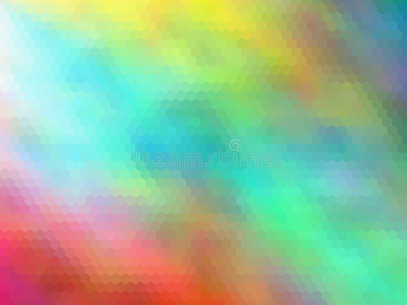 Fundo sextavada pixeled multicolorido Cores brilhantes ilustração do vetor