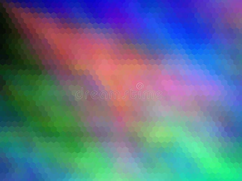 Fundo sextavada pixeled multicolorido Cores brilhantes ilustração stock