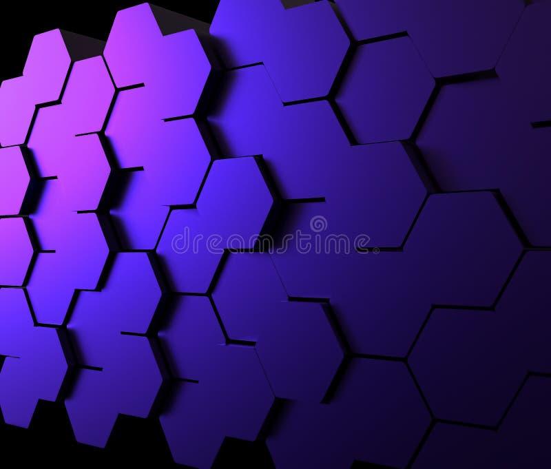 Fundo sextavado abstrato Conceito futurista da tecnologia Parede do mosaico ilustração stock