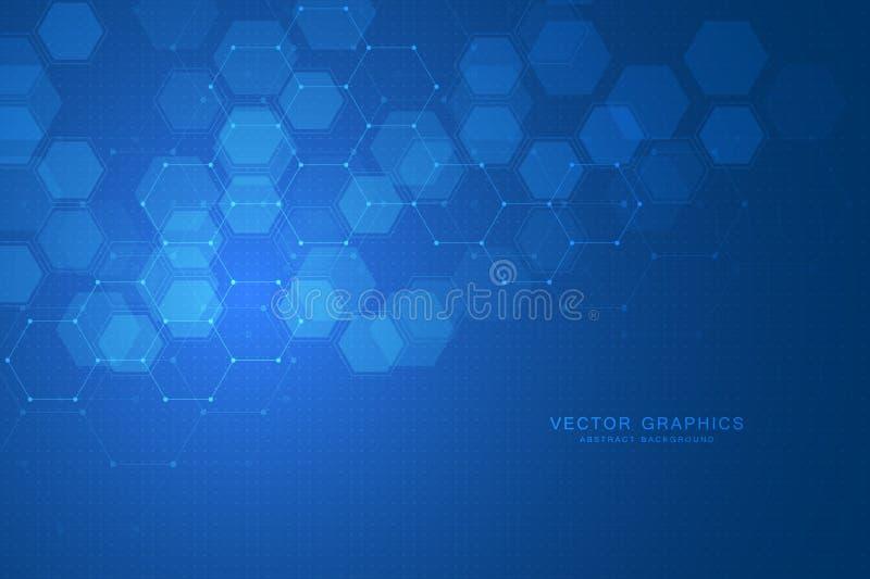 Fundo sextavado abstrato Conceito médico, científico ou tecnologico Gráficos poligonais geométricos Vetor ilustração do vetor