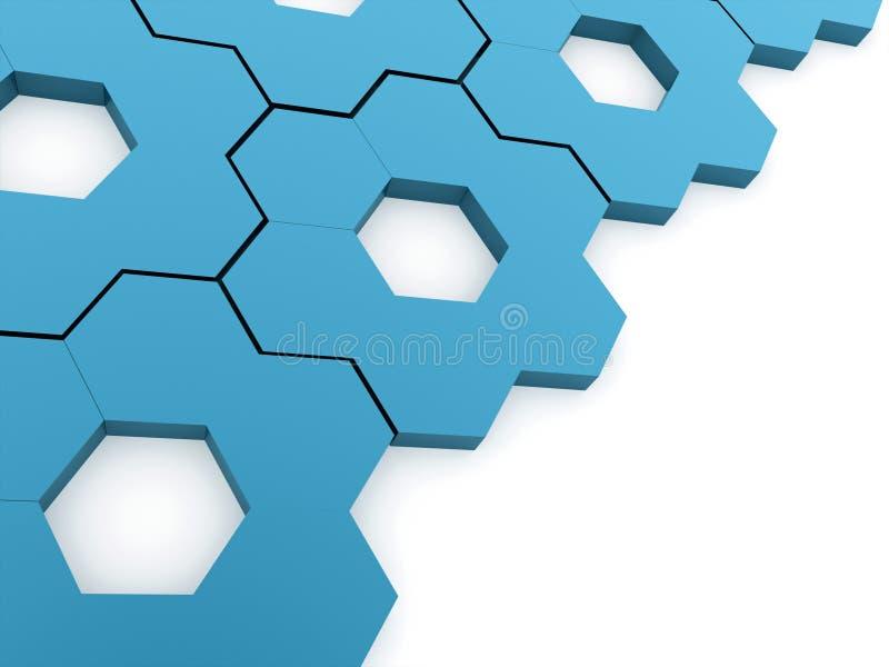 Fundo sextavado azul das engrenagens ilustração stock
