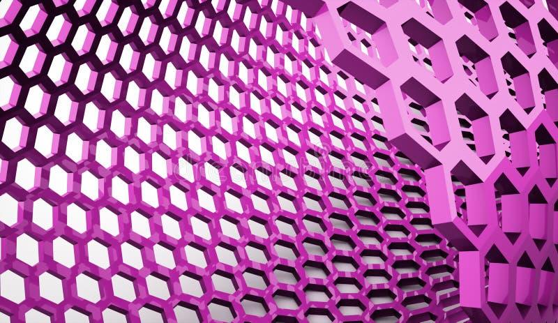 Fundo sextavado cor-de-rosa da malha ilustração do vetor