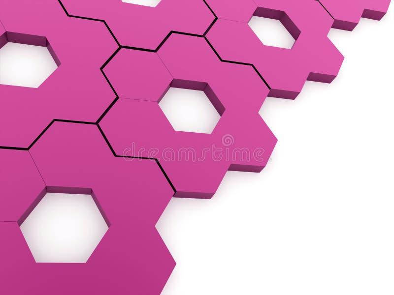 Fundo sextavado cor-de-rosa das engrenagens ilustração do vetor