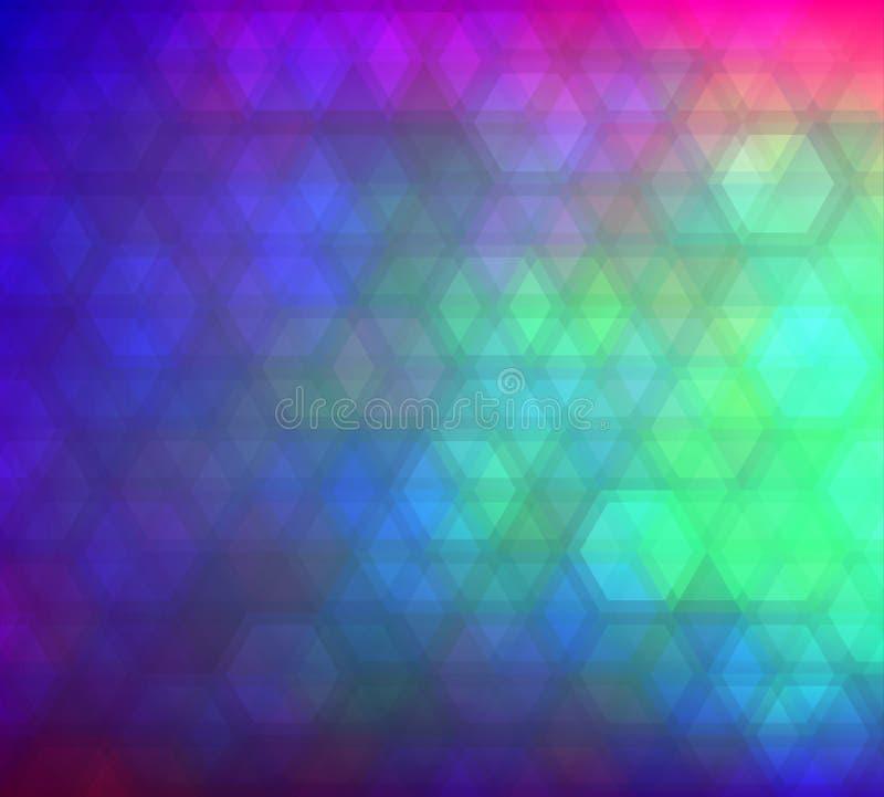 Fundo sextavado do inclinação colorido em cores brilhantes do arco-íris Imagem borrada sumário ilustração royalty free
