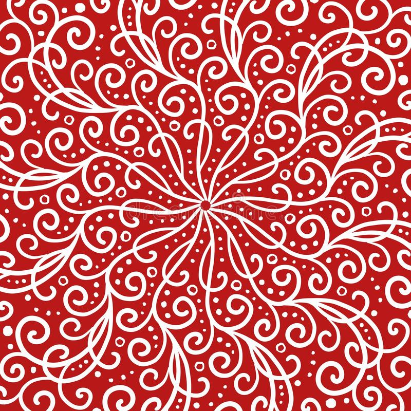 Fundo simétrico vermelho e branco do projeto com ondas e redemoinhos ilustração stock