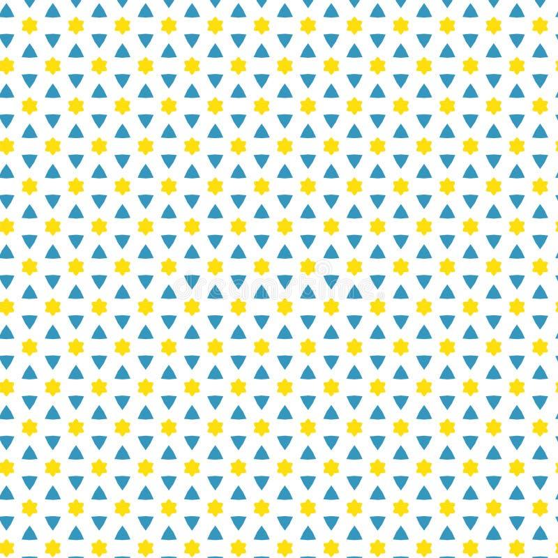 Fundo simples amarelo da tela do teste padrão de David Stars Triangle Abstract Geometric ilustração royalty free