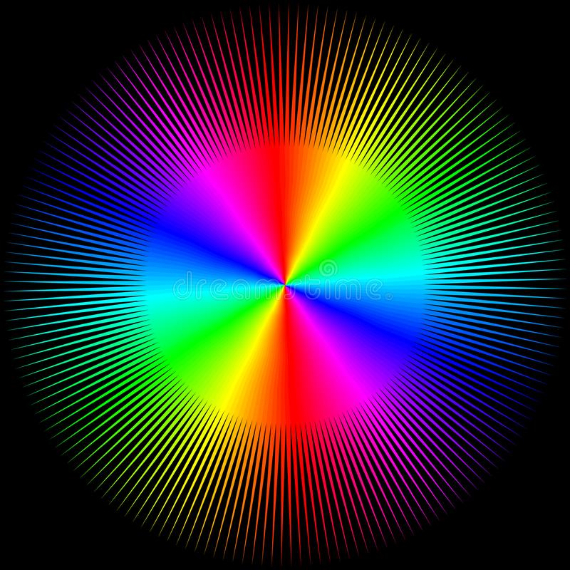 Fundo sob a forma de uma bola colorida com os raios isolados ilustração royalty free