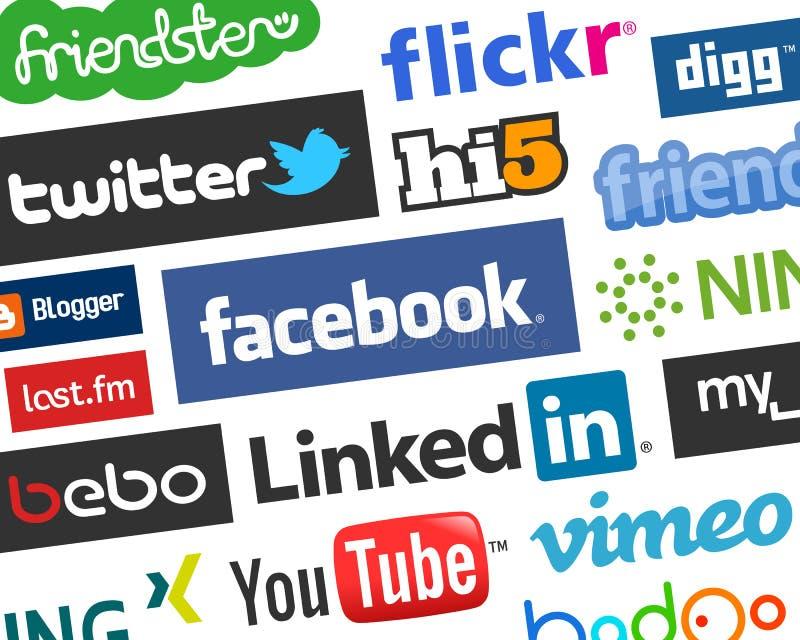Fundo social colorido dos logotipos dos meios [1] ilustração stock
