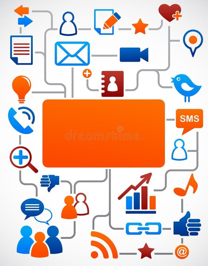 Fundo social da rede com ícones dos media ilustração do vetor