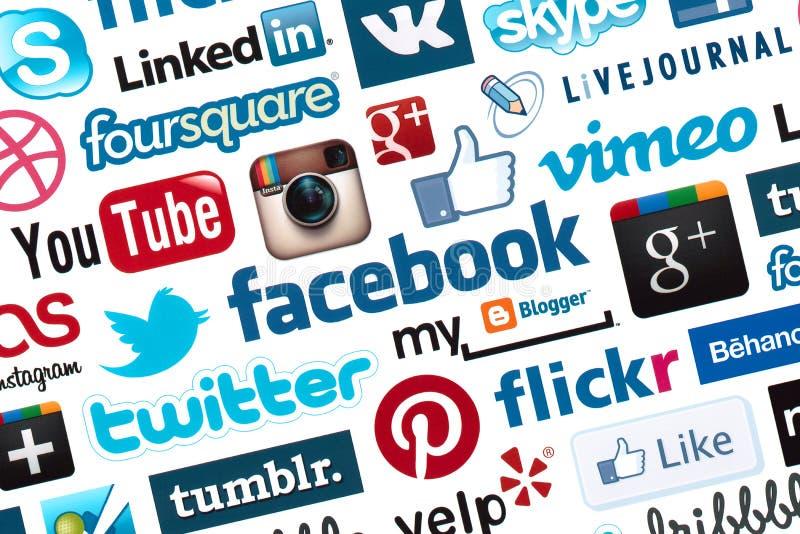 Fundo social do Logotype dos media imagens de stock