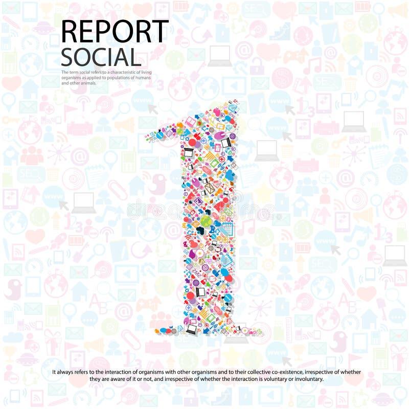 Fundo social do network number com ícones dos meios ilustração stock