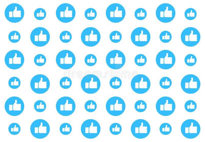 Fundo social do teste padrão dos meios com polegares acima Comentários, gostos, aprovação e aprovação Projeto da ilustração do ve ilustração do vetor